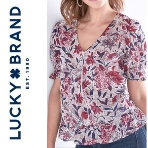 Lucky Brand floral print V neck top navy red M NEW